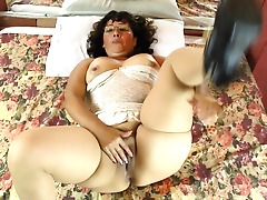 Horny Brazilian mature lady playing with her hairy pussy