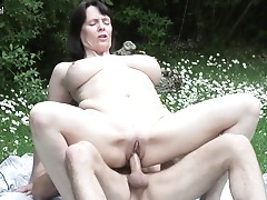 Big breasted British housewife pummeling and sucking