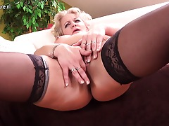Horny blondie housewife getting wet and wild